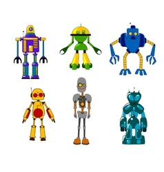 Colorful set of classic toy robots vector image vector image