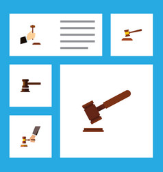 flat icon hammer set of crime law government vector image vector image