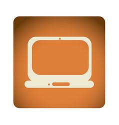 orange emblem laptop icon vector image vector image