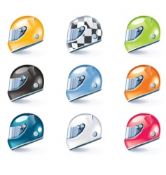 racing helmets icons vector image vector image