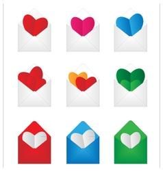 Set envelop with paper hearts inside vector image