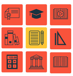 set of 9 education icons includes library vector image