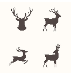 Set of silhouette images deer vector image