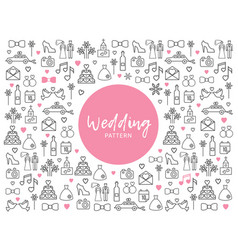 wedding line icons pattern vector image