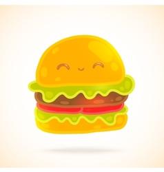 Cute funny cartoon hamburger with eyes smiling vector image