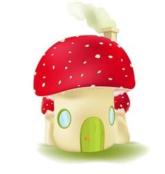 Red Mushroom House Cute Design vector image