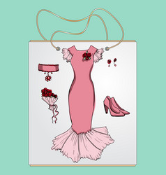 Shopping bag gift with the image of fashionable vector