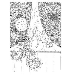 zentangl cat and curtains vector image