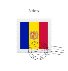 Andorra Flag Postage Stamp vector image
