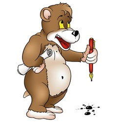 Bear Holding A Pen vector image vector image