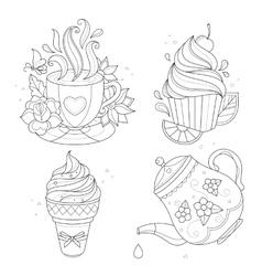 Coloring page set Cupcake ice cream tea pot vector image