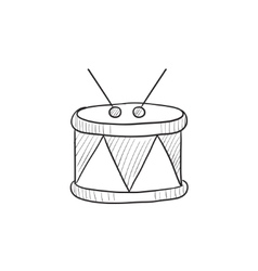 Drum with sticks sketch icon vector image