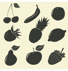 Fruits and berries icons - vector image vector image