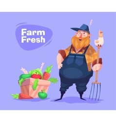 Funny farmer character Isolated vector image