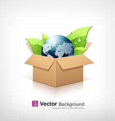 Globe and green leaf in recycle brown box vector image