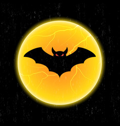 halloween bat fly and moon vector image vector image