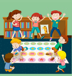 Kids playing twister in room vector