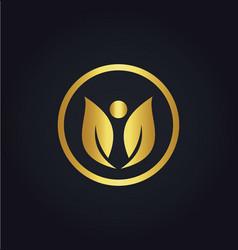 leaf beauty gold logo vector image vector image