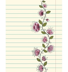 Lined paper sheet with doodle flowers vector image vector image