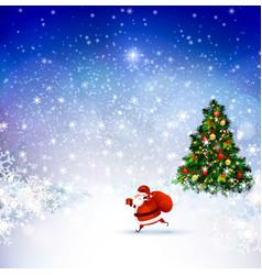 santa claus on the winter landscape vector image