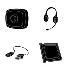 webcam headphones usb cable processor personal vector image