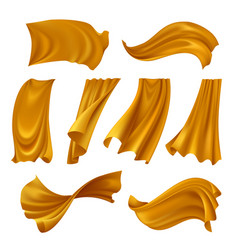 Realistic fluttering gold cloth set vector
