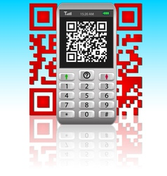 smartphone with qr code vector image