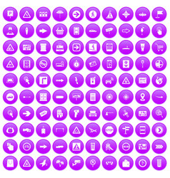 100 pointers icons set purple vector