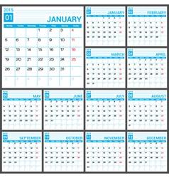 2015 Full Calendar Blue template vector image