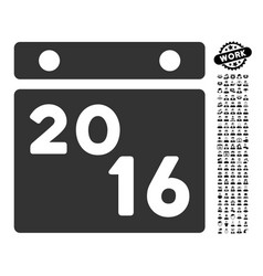 2016 calendar icon with men bonus vector