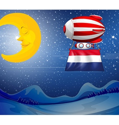 A floating balloon near the moon with the flag of vector image