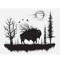 abstract buffalo walking in strange forest vector image