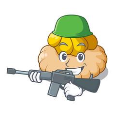 Army vanilla ice cream biscuit on cartoon vector