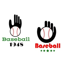 Baseball icons or emblems with people hand vector image