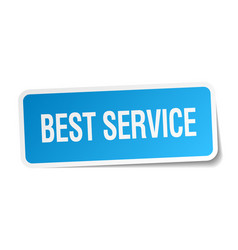 Best service blue square sticker isolated on white vector