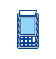 Blue contour of payment terminal vector