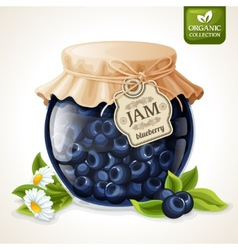 Blueberry jam glass vector