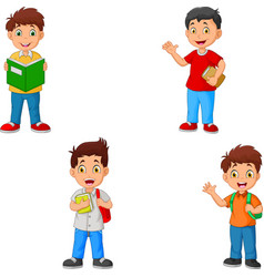 boys cartoon collection set with bag vector image