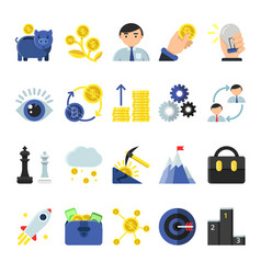 Business b2b symbols in flat style icons vector