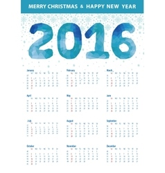 Calendar 2016Polygon blue numberssnowflakes vector