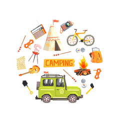 camping banner template with scouting and hiking vector image