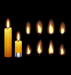 candle flame burning wax candles lights and vector image