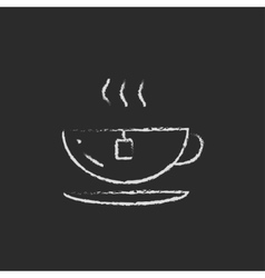 Cap of a hot tea icon drawn in chalk vector image