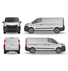 Cargo vehicle front side and rear view silver vector