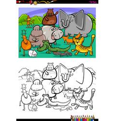 cartoon animal characters coloring book vector image