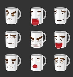 Cartoon Mug Emotion Face Cute vector image