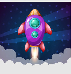 Cartoon rocket space landscape vector