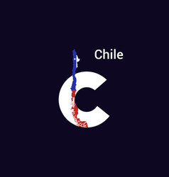 Chile initial letter country with map and flag vector