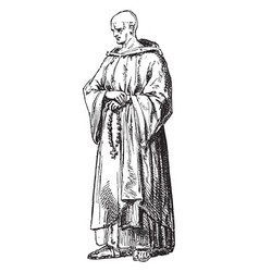 Cistercian monk vintage vector