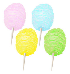 colorful sweet soft cotton candy collection vector image